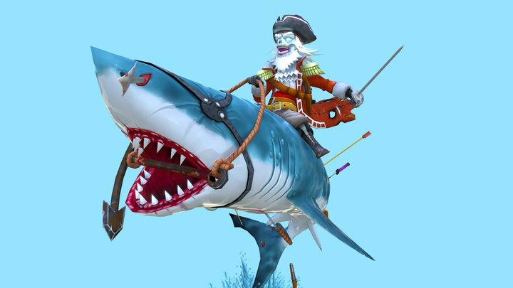 A Undead Pirate Riding A Sharrrrrk!! 3D Model