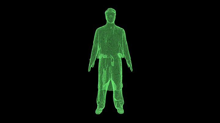 Glowing wireframe 3D Model