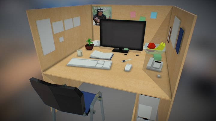 Low-poly office 3D Model