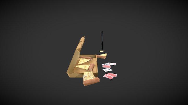 Pizza Box Textured 3D Model