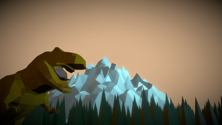 T- Rex Background Scene 3D Model