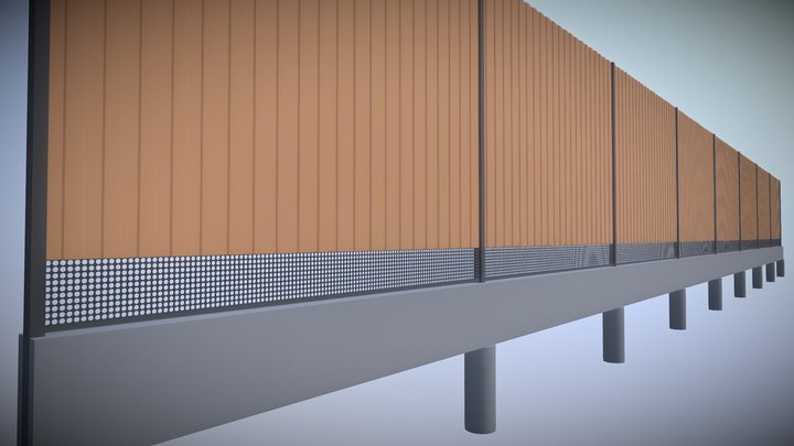 Straight metal sheet fence, version 1 3D Model