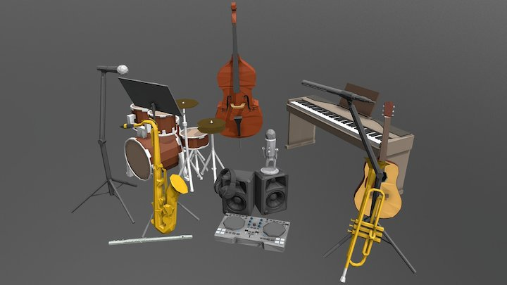 Music Band Low Poly 3D Model