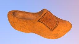 Old Wooden Clog 3D Model