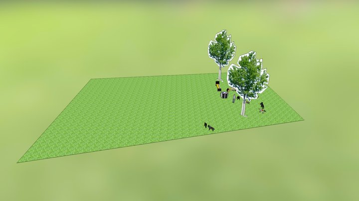 Canine-inspired park bench 3D Model