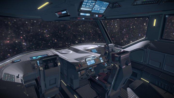 Sci fi Cockpit Bridge 6 3D Model