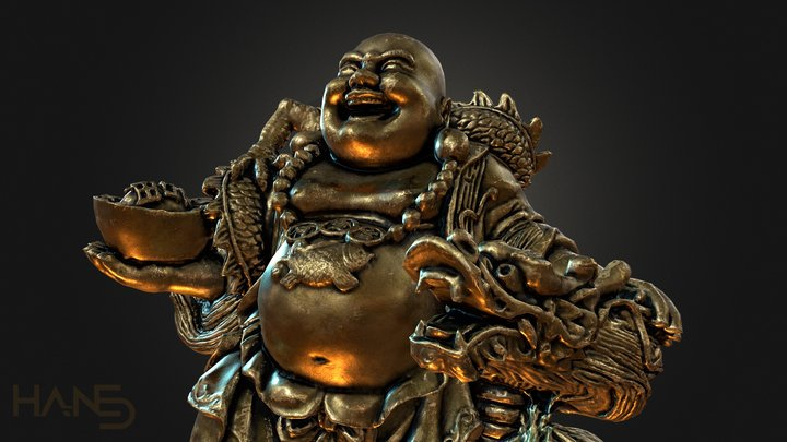 Laughing Buddha and his Dragon 3D Model