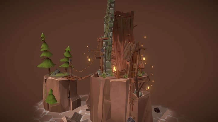 Stylized Environment - Tranquility house V1.1 3D Model