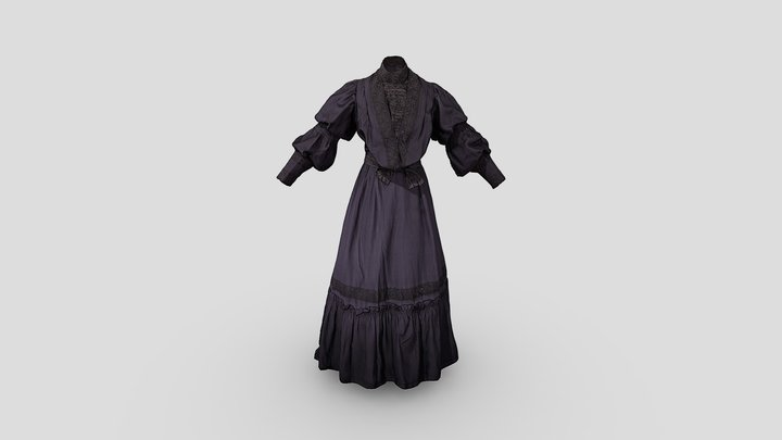 Mourning Bodice and Skirt c1900 3D Model