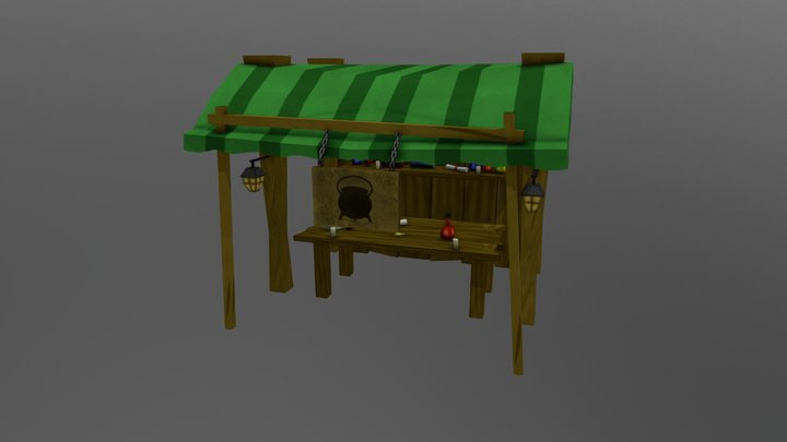 Market Stand 3D Model