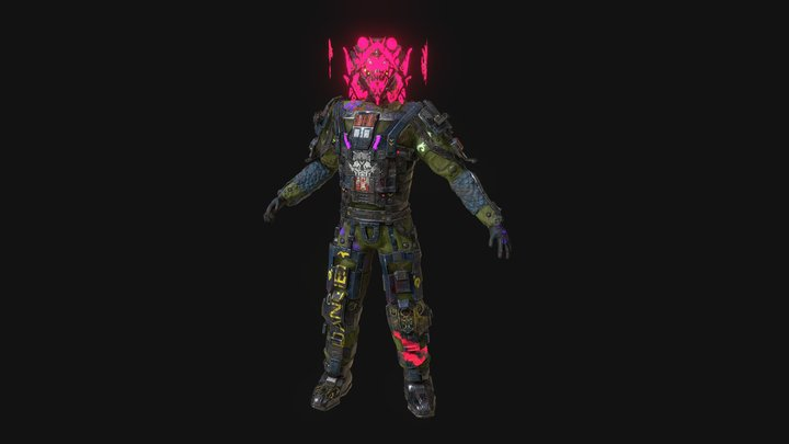 Cyberpunk slum soldier character rigged Low-poly 3D Model