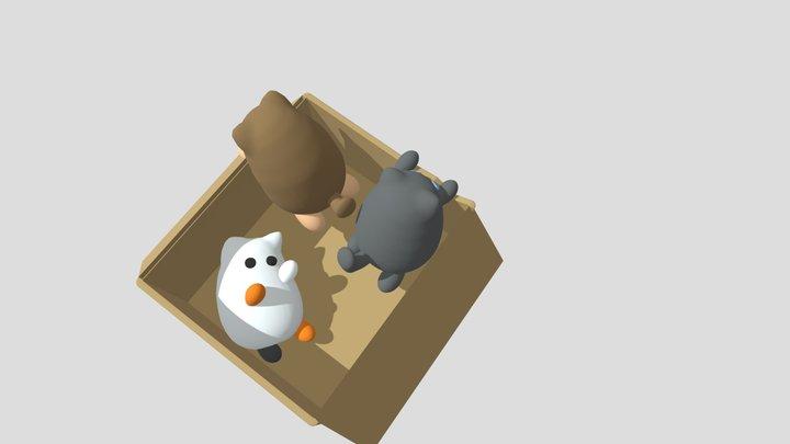 Kittens In A Box 3D Model