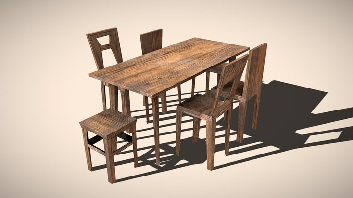Ultra low poly wooden table & chairs set 3D Model