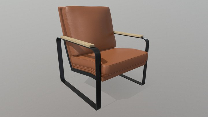 Lux Brown Single Seater Lounge 3D Model