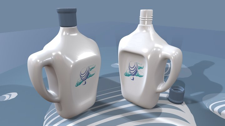 BOTTLE on blue background 3D Model