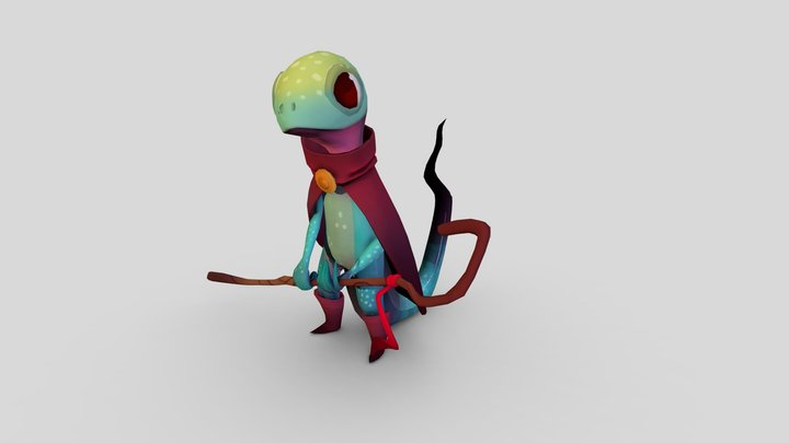 Baked AO Demo: Lizard Mage 3D Model