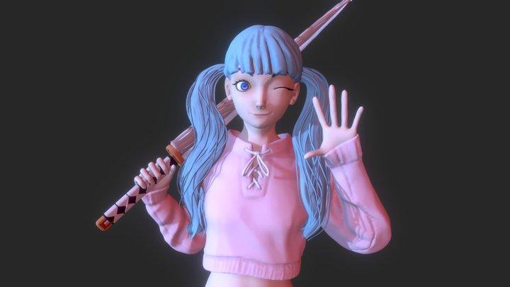 Umbrella girl 3D Model