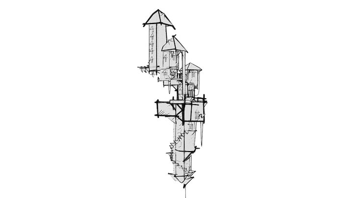 Flying towers 01 3D Model