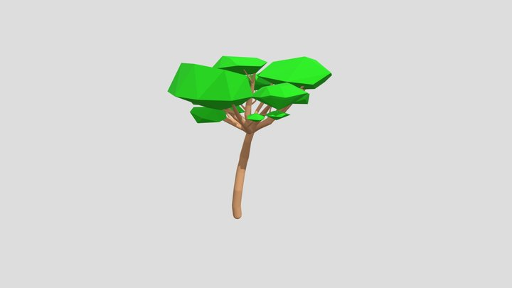 Low Poly - Outlined Cartoon Desert Tree 3D Model