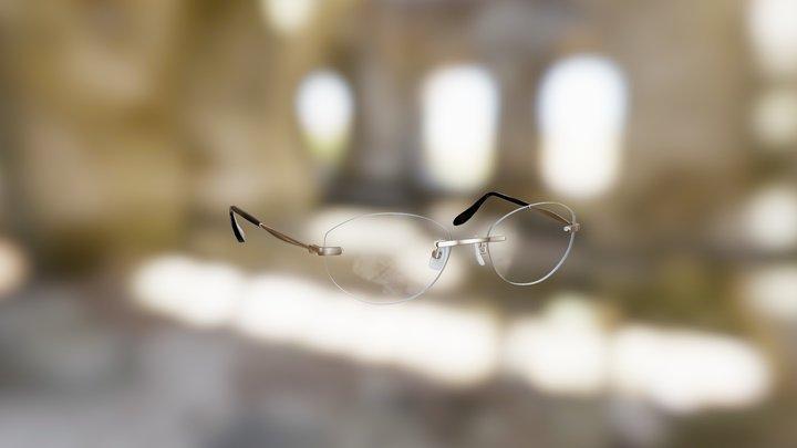 Generic Rimless Semi-Oval Glasses (Bronze) 3D Model