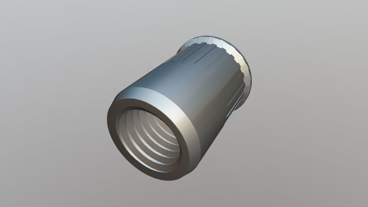 Rivet Nut - Reduced Head, Serrated Euro Open 3D Model