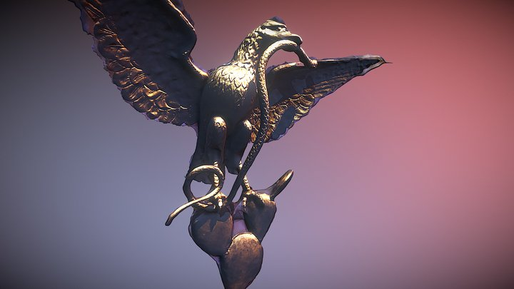 The Eagle and the Snake in Chapultepec Castle 3D Model