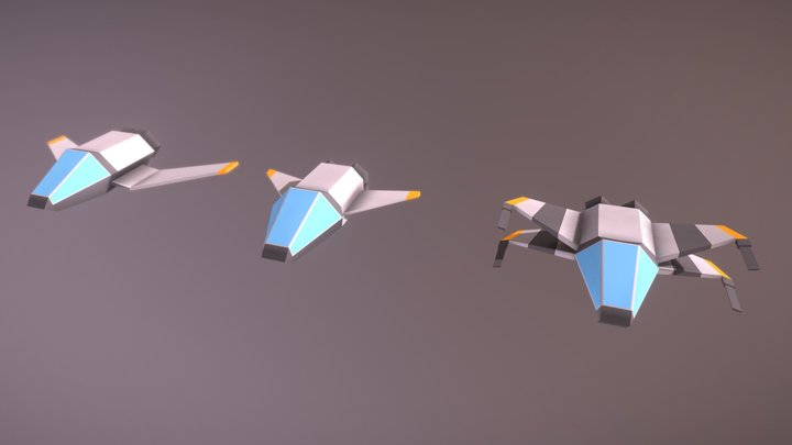 Low Poly Spaceships 3D Model