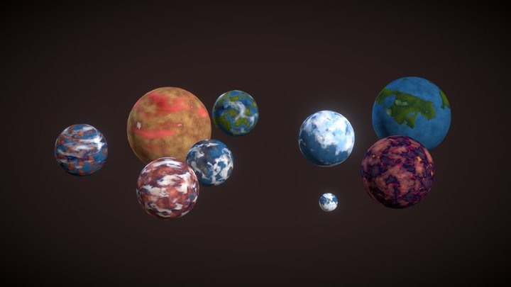 Sci Fi Planets 3D Model