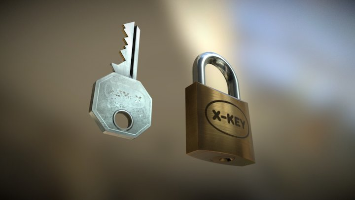 Small Padlock and Key 3D Model