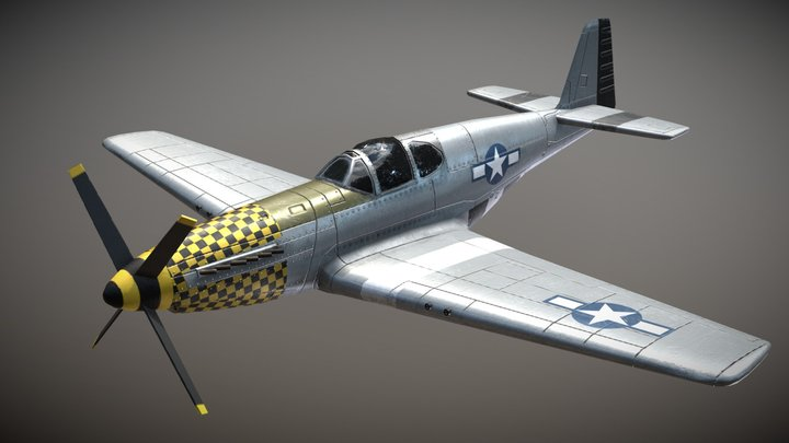 WW2 US Fighter Aircraft P51 Mustang 3D Model