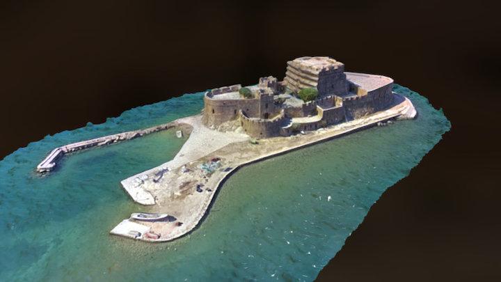 Castle of Bourtzi, Nafplion Greece 3D Model
