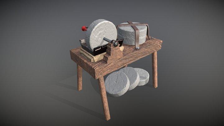 Médieval Grindstone 3D Model