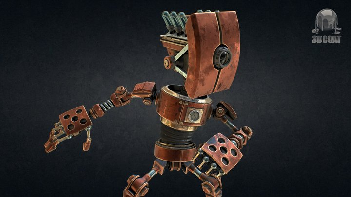 Robot Steampunk 3D-Coat 4.5 PBR 3D Model