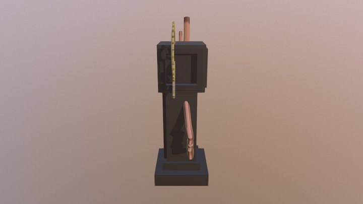 Low-Poly Steampunk series 1/6: Grandfather Clock 3D Model