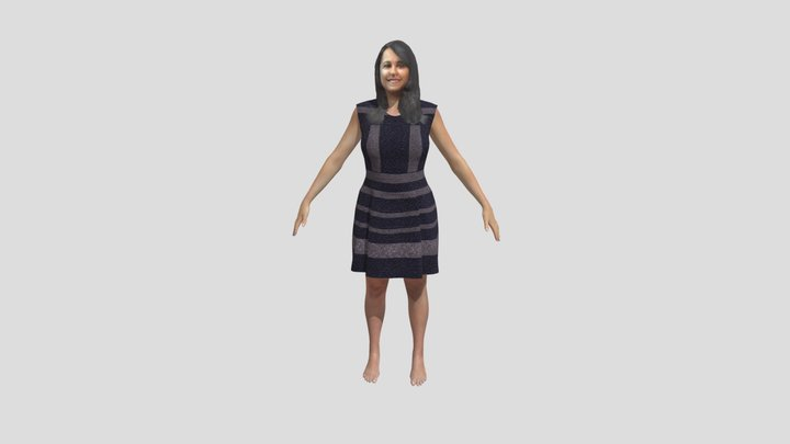 Yologram SM AVS Grey Dress A Pose 3D Model