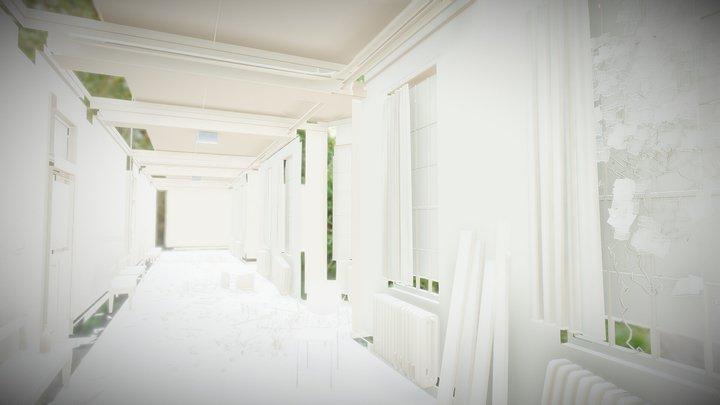 Deserted Elementary School Hallway 3D Model