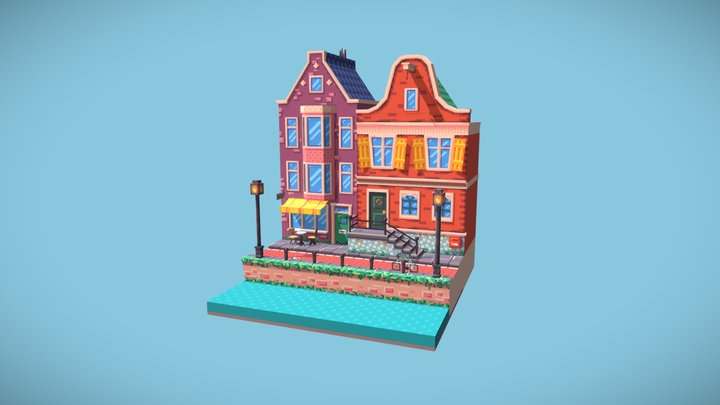 Small Amsterdam canal houses 3D Model