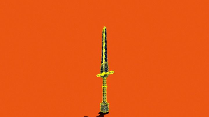 Holy Deadly Sword of Crom Low-Poly 3D Model