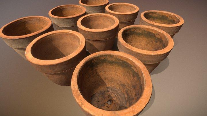 Three Clay Pots 3D Model