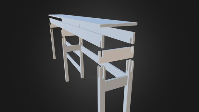 Sofa Table Exploded 3D Model
