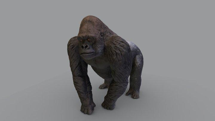 Silverback Gorilla Figurine 3D Model