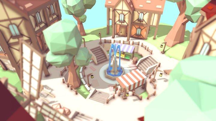 Medieval Plaza 3D Model