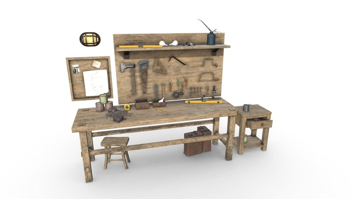 Workbench With Tools | Game Assets 3D Model