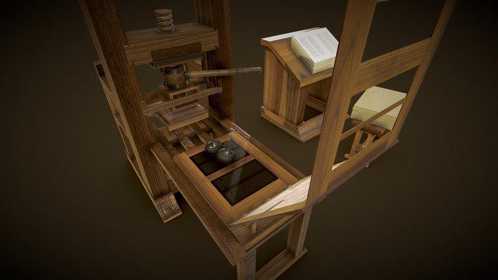 Gutenberg's Printing Press 3D Model