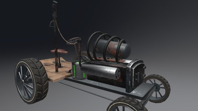 Steampunk tractor/vehicle 3D Model