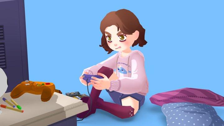 Gamer Girl 3D Model