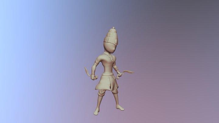 Kujang Warrior Flat Color 3D Model
