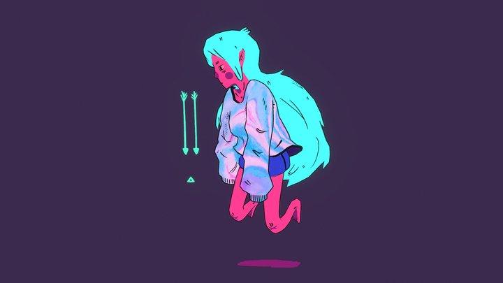 Neon Girl 3D Model