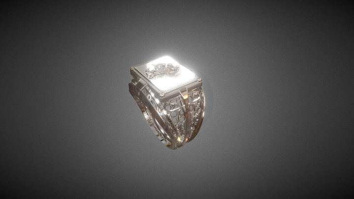 Jewel - Signet ring - Russian Two-Headed Eagle 3D Model