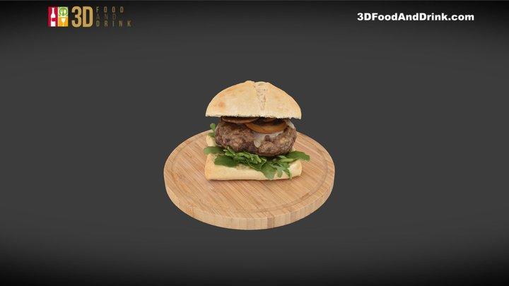 Mushroom Cheddar Burger 3D Model